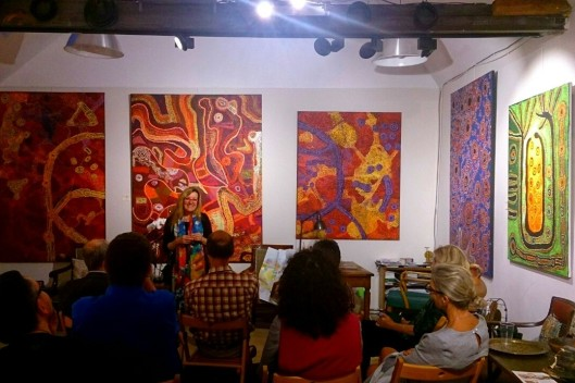 Roseline speaking at Aboriginal Signature Gallery